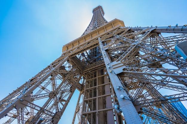 Beautiful eiffel tower landmark of parisian hotel and resort in macau city