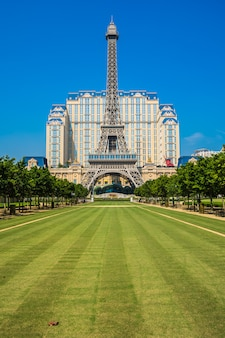 Beautiful eiffel tower landmark of parisian hotel and resort in macau city