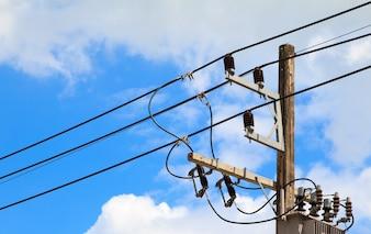 Beautiful electric pole, sky background