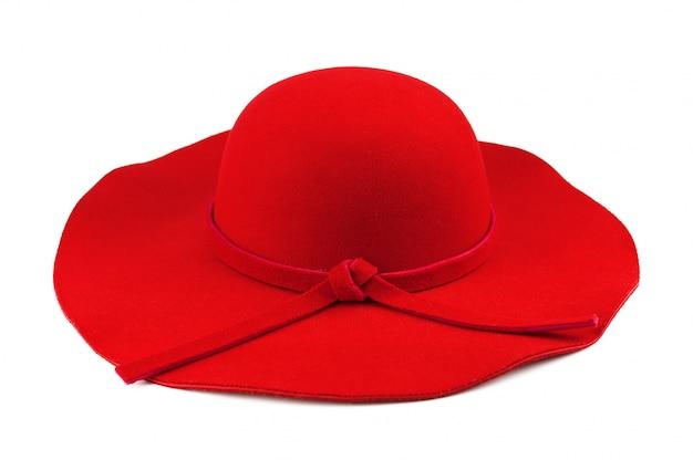Beautiful elegant woman red hat.