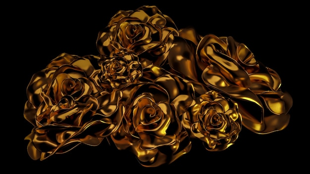 Beautiful element gold floral ornament. 3d illustration, 3d rendering.