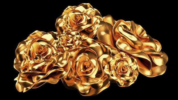 Beautiful element gold rose. 3d illustration, 3d rendering.
