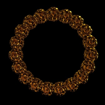 Beautiful element, gold, rose, stucco, ornament, frame. 3d illustration