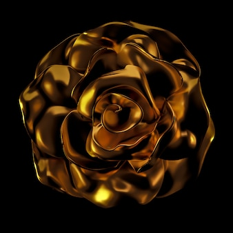 Красивый элемент, золото, роза, лепнина, орнамент, рамка. 3d-рендеринг.