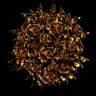 Beautiful element, gold, rose, stucco, ornament, frame. 3d rendering.