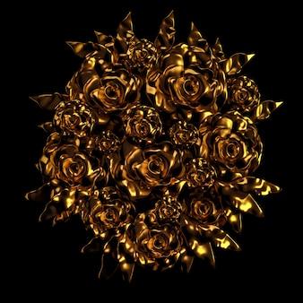 아름 다운 요소, 금, 장미, 치장 용 벽 토, 장식, 프레임. 3d 렌더링.