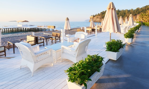 Beautiful embankment for walking and sport in amara dolce vita luxury hotel. alanya turkey.