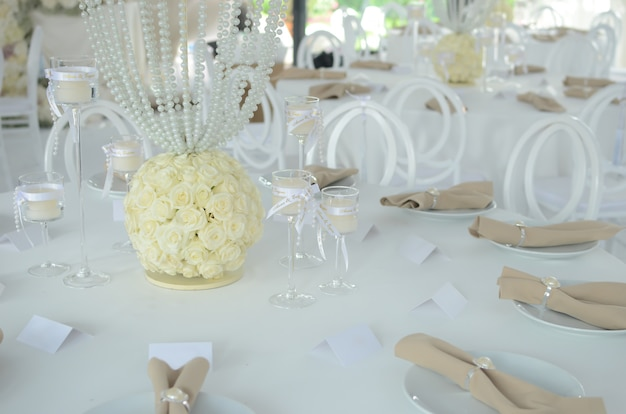 Beautiful expensive table setting for the celebration