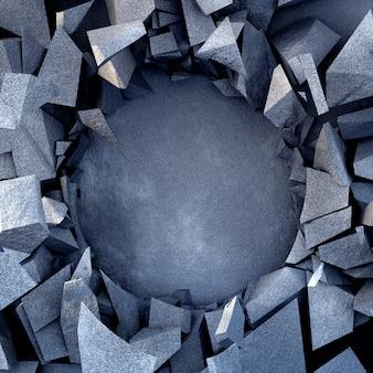 石のテクスチャと美しい爆発破壊の背景。 3dイラスト、3dレンダリング。