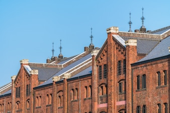 Beautiful exterior building and architecture of brick warehouse