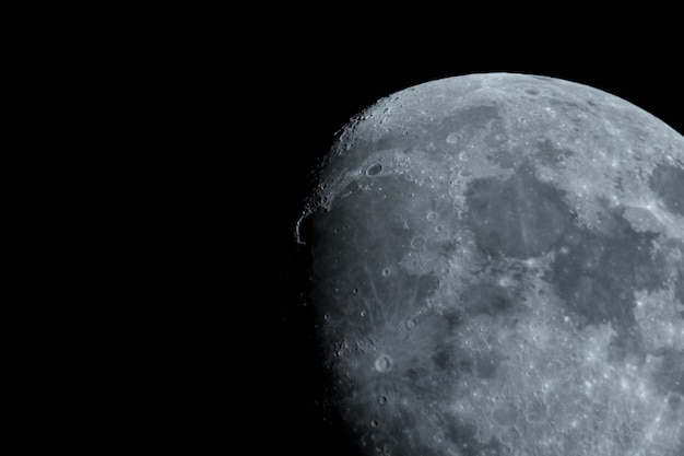 Beautiful extreme closeup shot of the half-moon