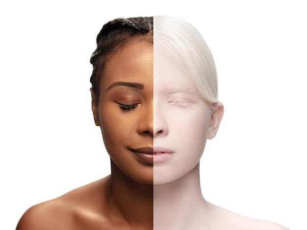 清潔で新鮮な肌を持つ2人の女性の美しい顔。広告用のコピースペース付きのチラシ。美容、ヘルスケア、化粧品の概念。目を閉じて肌を手入れした、かなりアフリカ系アメリカ人とアルビノの女の子。