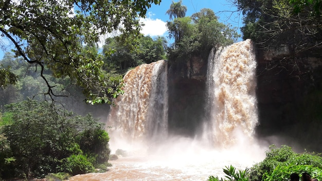 Beautiful falls of iguazu river