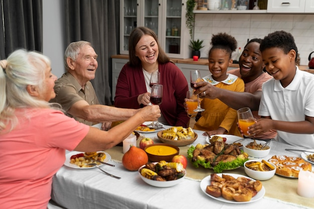 Beautiful family having a nice thanksgiving dinner together