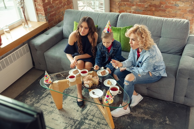 Beautiful family spending time together, celebrating party