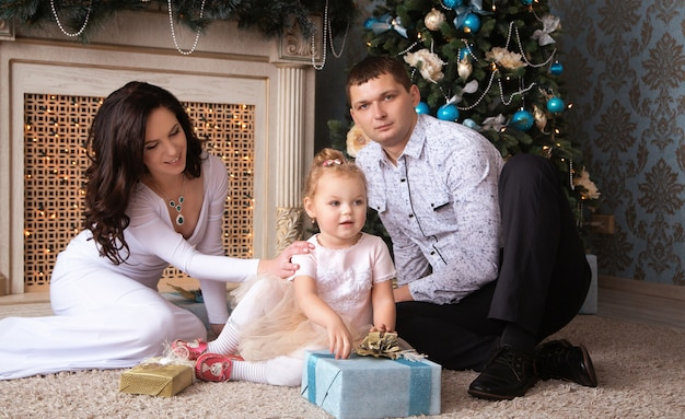 Beautiful family waiting for christmas