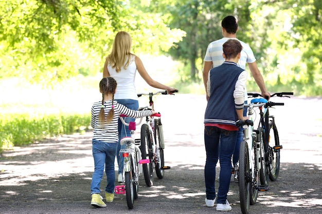 Beautiful family with bikes in park