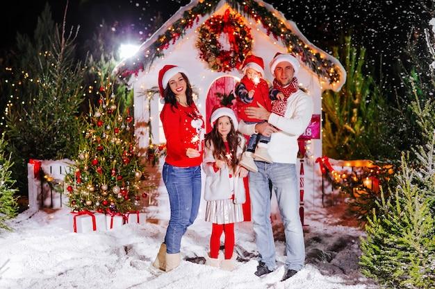 Красивая семья с детьми на рождество
