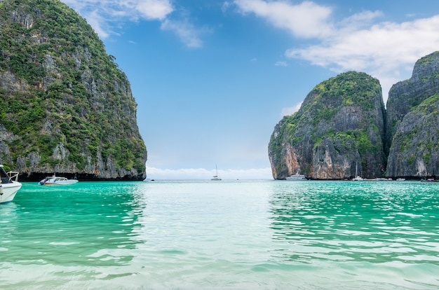Beautiful famous sea in maya bay at phi phi island