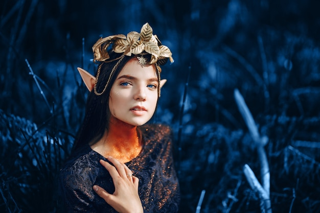 Beautiful fantasy woman in blue tone