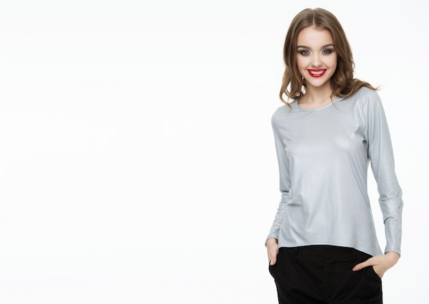 Beautiful fashion model wearing silver grey top