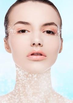 Beautiful fashion model with natural makeup spa