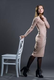 Beautiful fashion woman posing