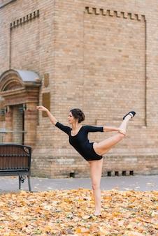 美しい女性、バレリーナ、公園で黒のボディースーツトレーニングのアスリート