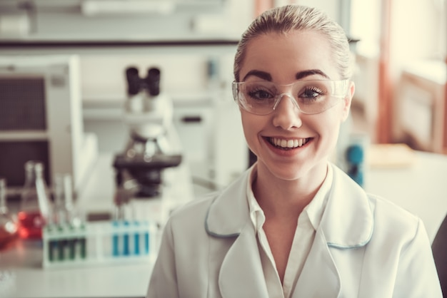 Beautiful female doctor in laboratory