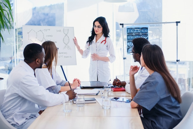 Beautiful female doctor wearing white coat and eyeglasses standing by flipchart and giving presentation to group of healthcare specialists. medical team having a meeting in conference room in hospital