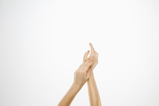 白で隔離の美しい女性の手。美容、化粧品、スパ、マニキュア、トリートメント、スキンケアのコンセプト。官能的で優しい瞬間