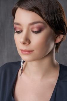 Beautiful female portrait close-up, beauty make-up