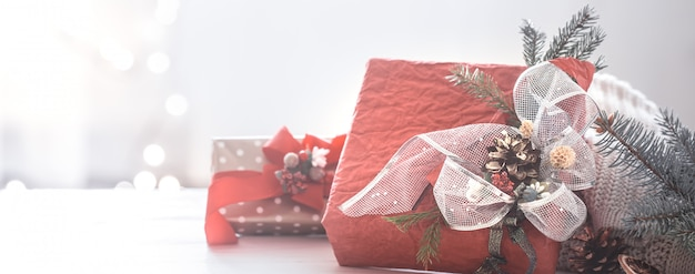 Beautiful festive christmas red box in the living room at home Premium Photo