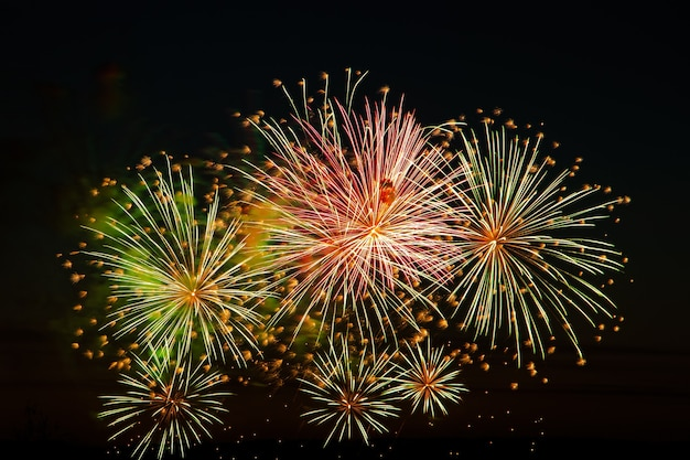 Beautiful festive fireworks in the sky for a holiday bright multicolored salute on a black background place for text