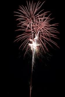 밤 시간에 아름다운 불꽃 놀이