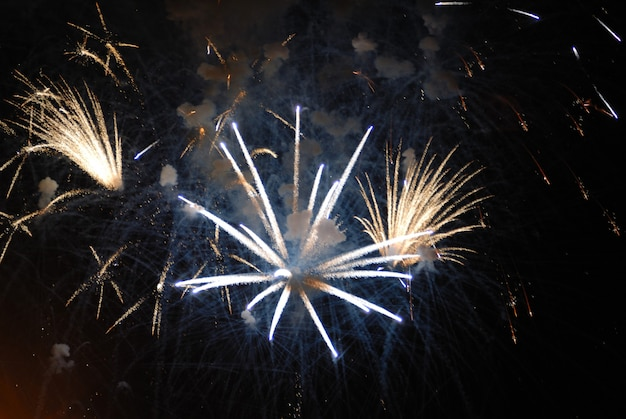 Beautiful fireworks on black sky colorful fireworks great for independence day new years