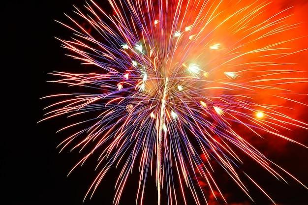 Beautiful fireworks on the black sky