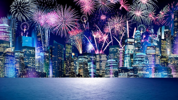 Beautiful fireworks at city background