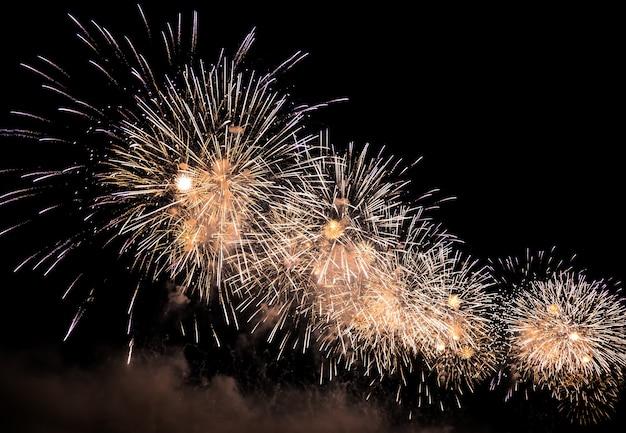 휴일 동안 밤하늘의 아름다운 불꽃놀이와 폭죽 신년 전야 불꽃놀이