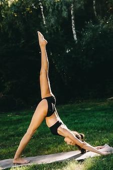 화창한 여름날에 자연 속에서 운동하는 아름 다운 피트 니스 소녀.