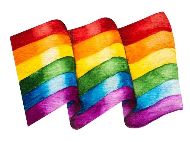 무지개를 이미지 한 아름다운 깃발. 클로즈업, 위에서 볼 수 있습니다. 휴일 개념.