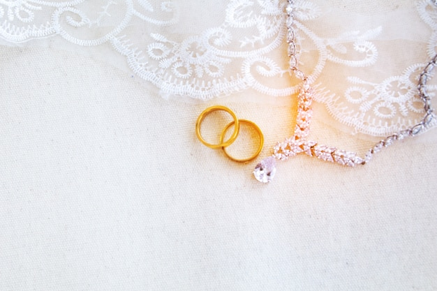 Beautiful flat lay background of wedding or valentines concept
