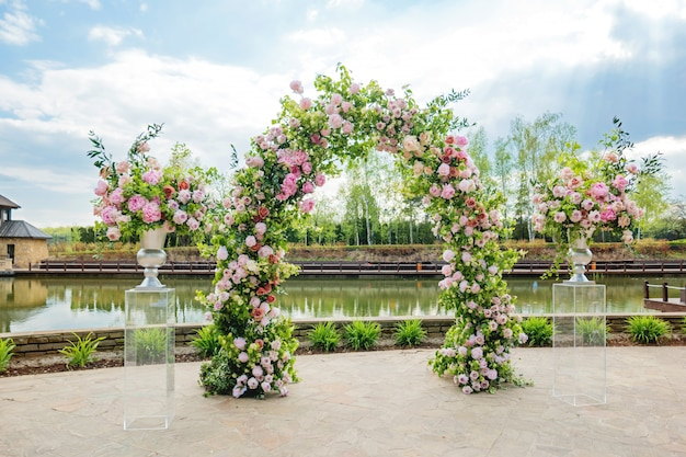 Beautiful floral arch for wedding ceremony