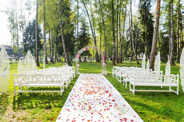 Beautiful floral arch for wedding ceremony.