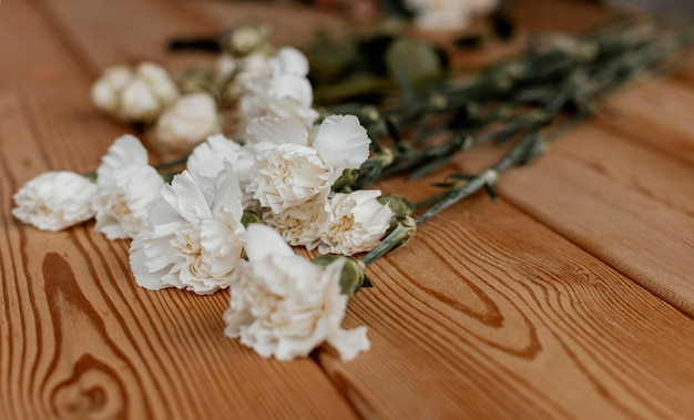Beautiful floral arrangement on wooden table