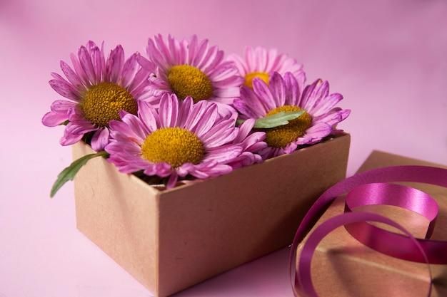 アスターの花とライラック色の美しい花の背景