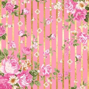 ピンクの背景と金色の線で美しい花の背景