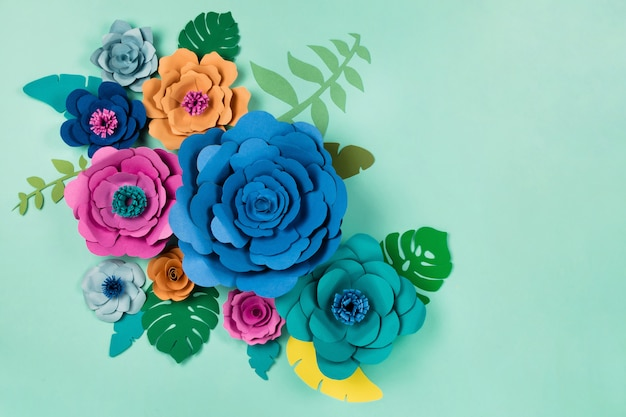 Beautiful floral papercraft flowers, top view, flat lay