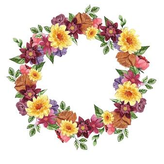 Красивый цветочный акварельный венок
