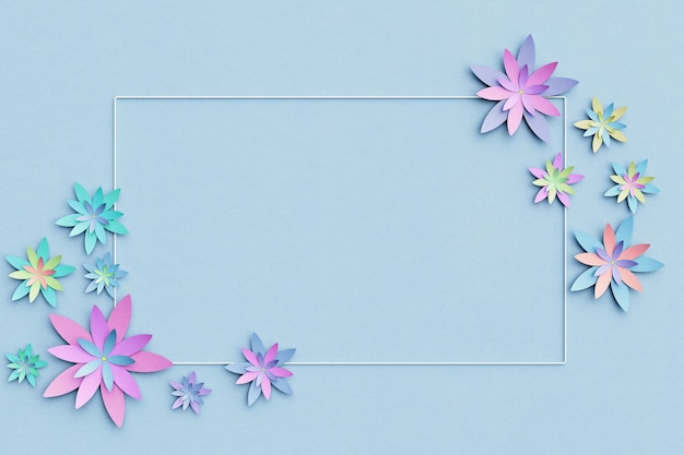 Beautiful flower arrangement. flowers on a light blue background. empty photo frame for text. greeting card. flat lay, copy space.  flat lay, copy space. 3 d illustration.